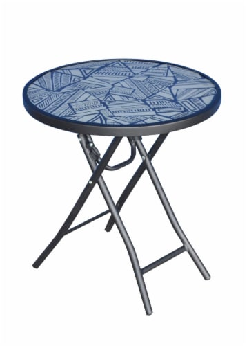 HD Designs Outdoors Raysall Ways Pattern Glass Top Folding Table Perspective: front