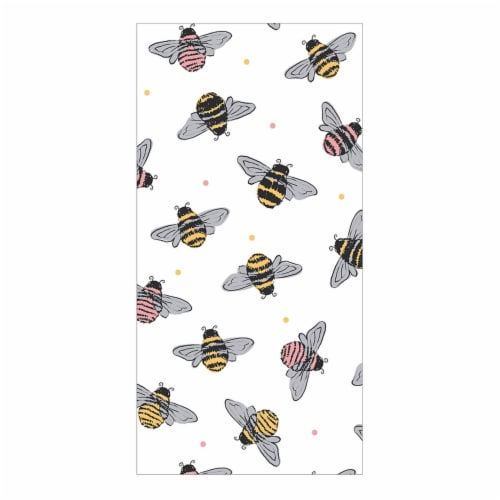 Everyday Living Bees Print Kitchen Towel - White/ Yellow Perspective: front