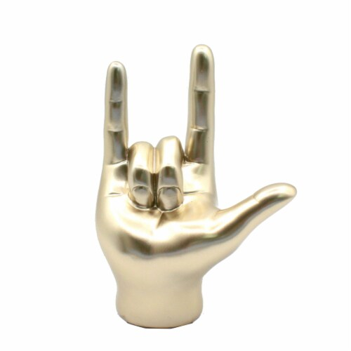Holiday Home® I Love You Hand Sculpture - Gold Perspective: front