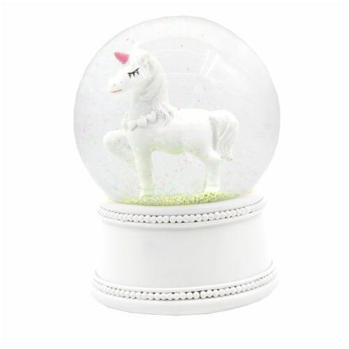 Holiday Home® Unicorn Waterglobe - Clear/White Perspective: front