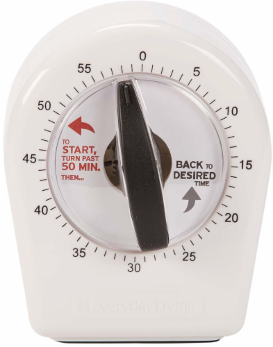 Everyday Living Kitchen Timer - White Perspective: front