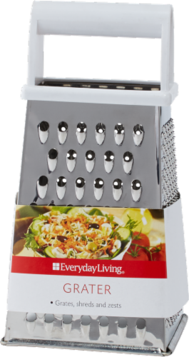 Everyday Living® Stainless Steel Grater with Plastic Handle - Silver Perspective: front