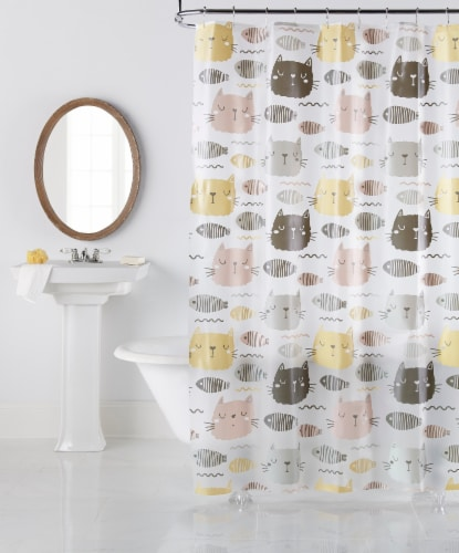 Everyday Living Purrfect Shower Curtain Perspective: front