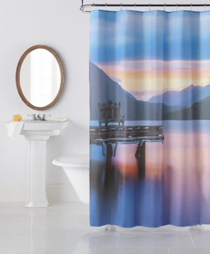 Everyday Living Sunset Lakes Shower Curtain Perspective: front