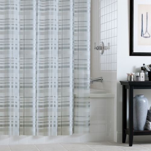 Everyday Living Tartan Plaid Shower Curtain - Silver Perspective: front