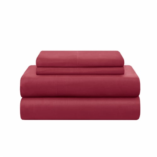 Modavari Home Fashions King Sized Sheet Set - Red Perspective: front