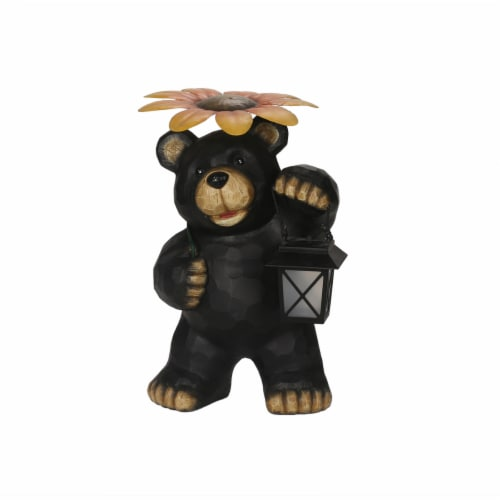 The Joy of Gardening Decorative Solar Bear with Flower Statue - Black Perspective: front