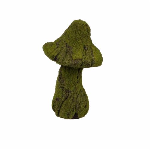 The Joy of Gardening Resin Distressed Wood Look Flocked Mushroom Statue - Green Perspective: front