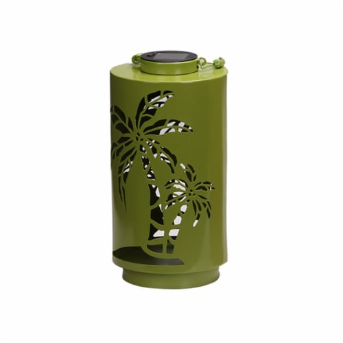 HD Designs Outdoors® Palm Metal Solar Accent - Light Green Perspective: front
