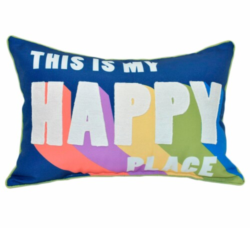 HD Designs Outdoors Happy Place Decor Pillow Perspective: front