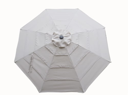 HD Designs Outdoors Tiered Market Umbrella - Taupe Perspective: front