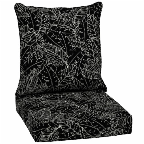 HD Designs Outdoors Deep Seat Cushion Set - Black Leaves Perspective: front