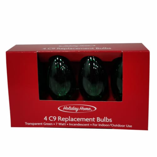 Holiday Home C9 Transparent Replacement Bulbs - Green Perspective: front
