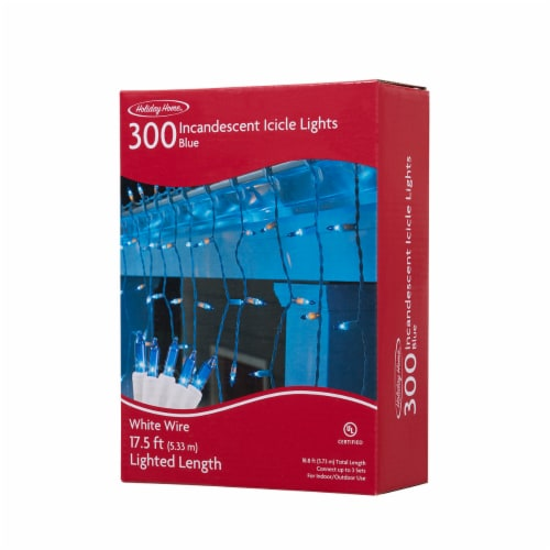 Holiday Home® 300 Incandescent Icicle String Lights - Blue Perspective: front