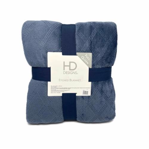 HD Designs® Etched Velvet Blanket - Blue Perspective: front