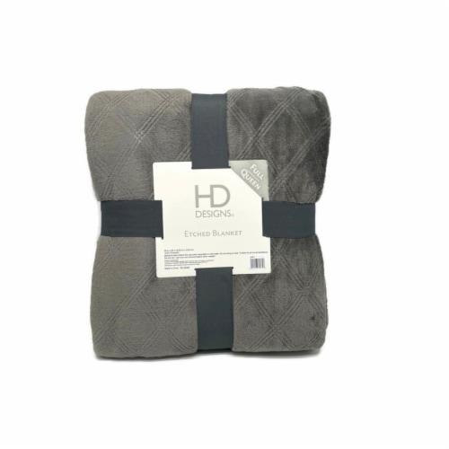 HD Designs® Velvet Etched Blanket - Gray Perspective: front