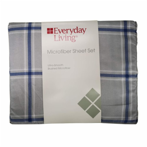 Everyday Living® Microfiber Sheet Set - Gray/Blue Perspective: front
