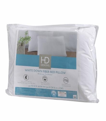 HD Designs® 300 Thread Count Medium Support Down Fiber Pillow Perspective: front
