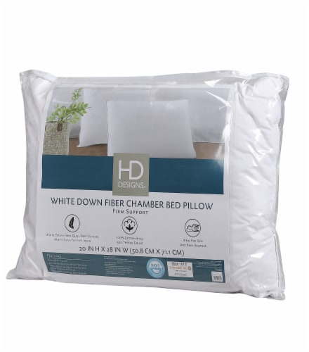 HD Designs® 300 Thread Count Firm Support Down Fiber Chamber Pillow Perspective: front