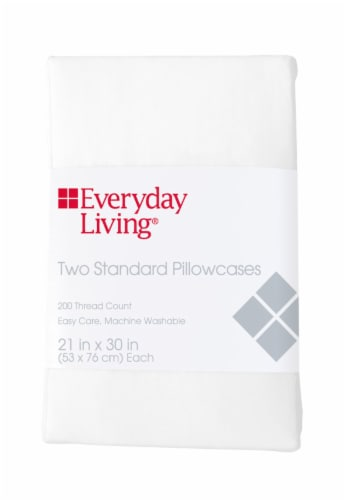 Everyday Living® 200 Thread Count Cotton/Polyester Pillow Case - 2 Piece - Brite White Perspective: front
