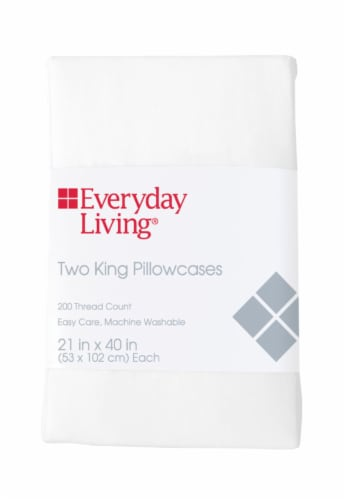 Everyday Living® 200 Thread Count Cotton/Polyester Pillowcase - 2 Pack - Brite White Perspective: front