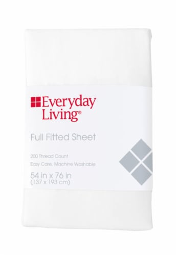 Everyday Living® 200 Thread Count Cotton/Polyester Fitted Sheet - Brite White Perspective: front