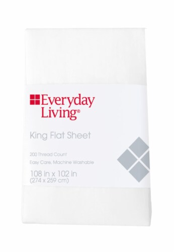 Everyday Living® 200 Thread Count Cotton/Polyester Flat Sheet - Brite White Perspective: front
