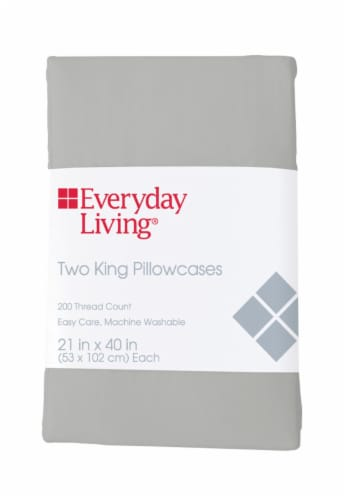 Everyday Living® 200 Thread Count Cotton/Polyester Pillow Case - Quiet Gray Perspective: front