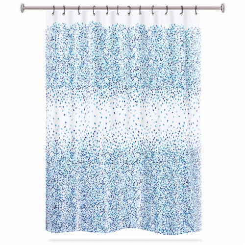 HD Designs Prairie Polyester Fabric Shower Curtain - Indigo Perspective: front