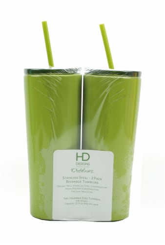 HD Designs Outdoors® Stainless Steel Beverage Tumblers - Dark Citron - 2 Pack Perspective: front