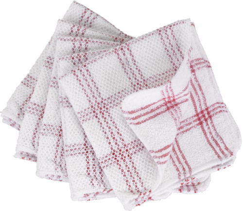 Everyday Living Scouring Dish Cloths - 5 Pack - Red/White Perspective: front