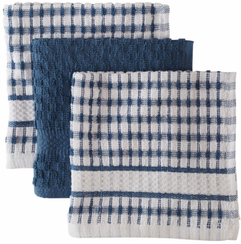 Everyday Living Popcorn Dishcloths - Federal Blue Perspective: front