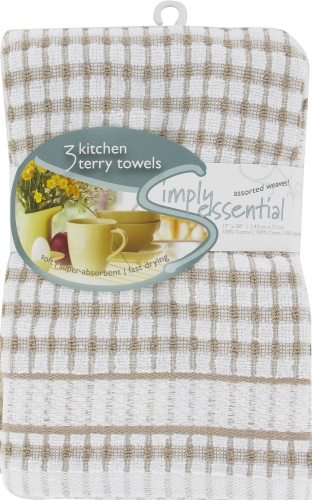 Everyday Living Woven Kitchen Towel - Biscotti Perspective: front