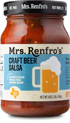 Mrs. Renfro's Medium Hot Texas Red Amber Ale Craft Beer Salsa Perspective: front