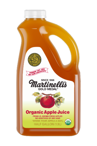 Martinelli's 100% Pure Organic Apple Juice Perspective: front