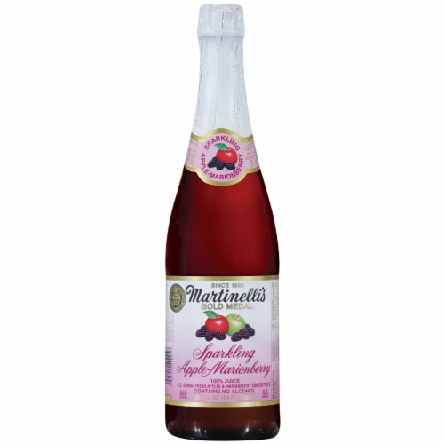Martinelli's Gold Medal Sparkling Apple-Marionberry Juice Perspective: front