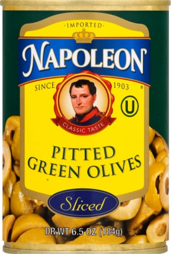 Napolean Sliced Pitted Green Olives Perspective: front