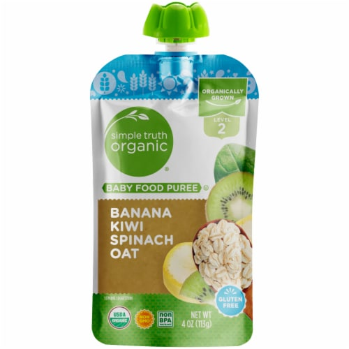 Simple Truth Organic® Banana Kiwi Spinach Oat Stage 2 Baby Food Puree Perspective: front