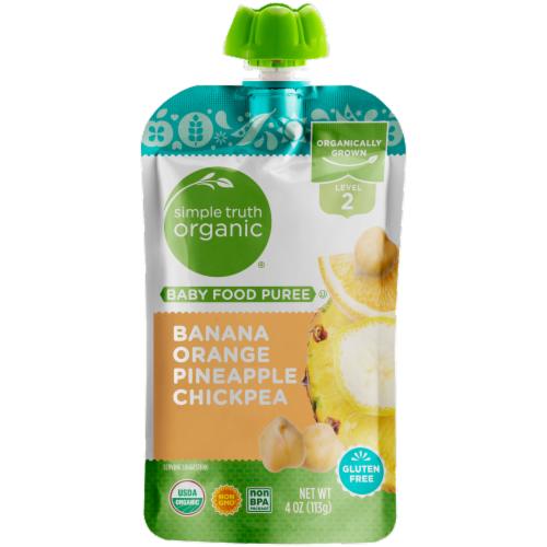Simple Truth Organic™ Banana Orange Pineapple Chickpea Stage 2 Baby Food Puree Perspective: front