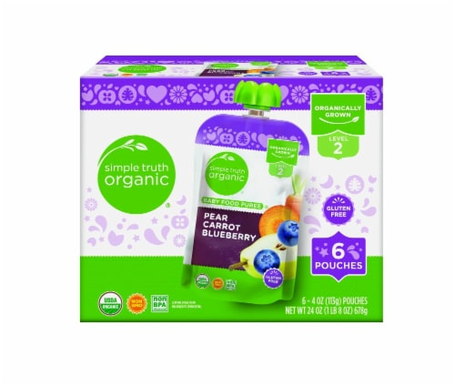 Simple Truth Organic® Pear Carrot Blueberry Stage 2 Baby Food Pouches Perspective: front