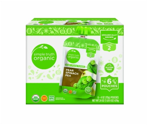 Simple Truth Organic™ Pear Spinach Pea Baby Food Pouches Perspective: front