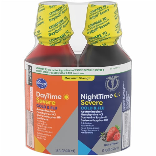 Kroger® Berry Flavored Severe Cold & Flu DayTime & NightTime Liquid Perspective: front