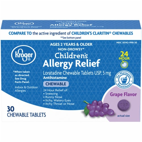 Kroger® Children's Allergy Grape Chewable Tablets Perspective: front