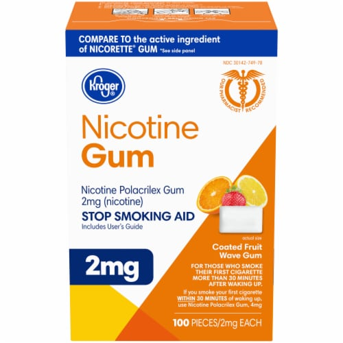 Kroger® Coated Fruit Wave Nicotine Gum 2mg Perspective: front