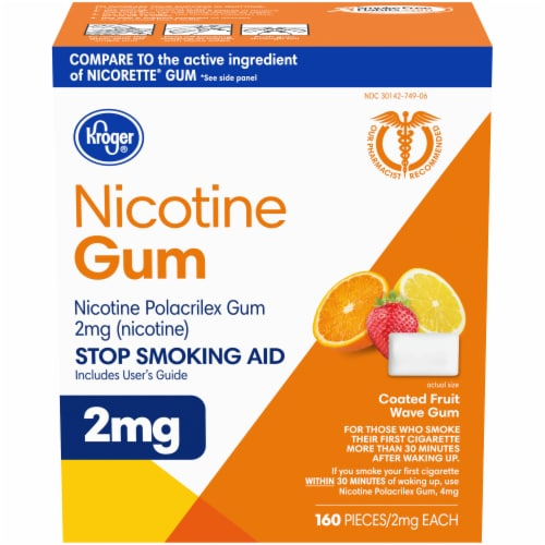 Kroger® Fruit Flavored Nicotine Gum 2mg Perspective: front