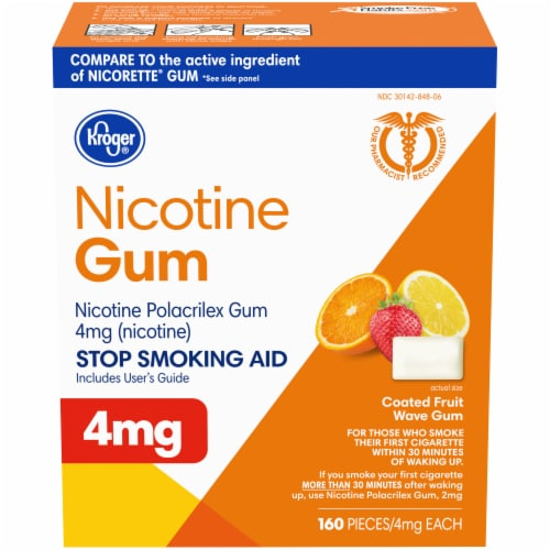 Kroger® Fruit Flavored Nicotine Gum 4mg Perspective: front