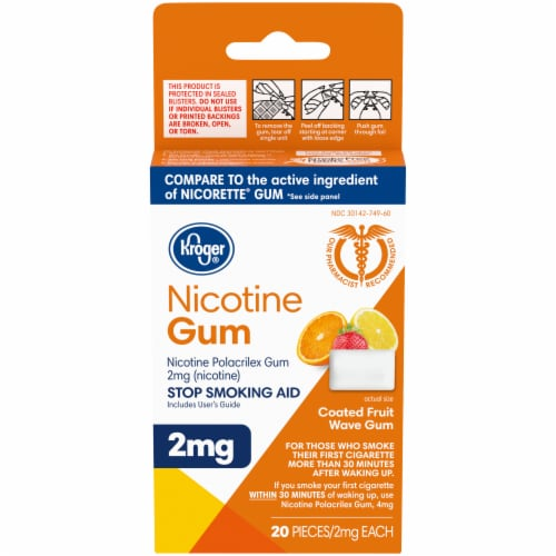 Kroger® Coated Fruit Wave Nicotine Gum 2mg Perspective: front