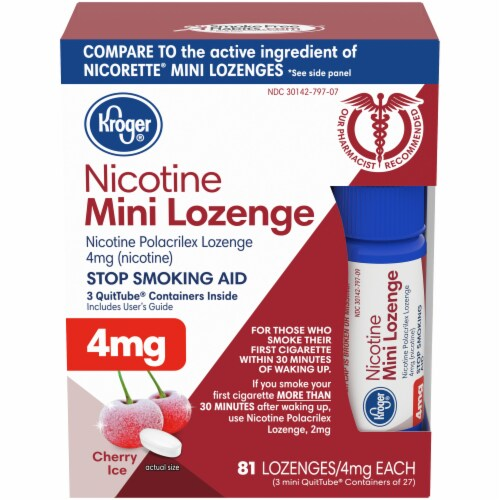 Kroger® Cherry Ice Nicotine Mini Lozenges 4mg Perspective: front