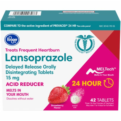 Kroger® Strawberry Flavor Lansoprazole Acid Reducer Tablets Perspective: front