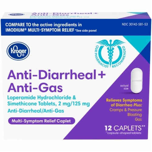 Kroger® Anti-Diarrheal + Anti-Gas Multi-Symptom Relief Caplets Box Perspective: front